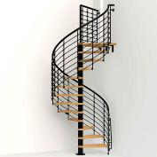 """Arké Oak 70.Xtra Spiral Staircase Kit, (99-3/16"""" to 122-7/16""""), 63"""" Dia., Black"""