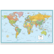 "Rand Mcnally Deluxe World Wall Map, 50""W x 32""H, 1 Each"