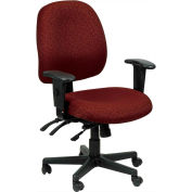 4X4 Task Chair, 498SL-BURG, Burgundy Fabric, Adjustable Arms