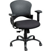 NEWPORT Task Chair, FT5241-AT33BLACK, Black Fabric, Adjustable Arms