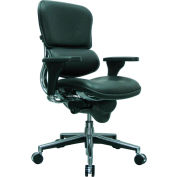 ERGOHUMAN Mid Back Chair, LE10ERGLO(N), Black Leather, Adjustable Arms