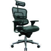ERGOHUMAN Executive High Back Chair, LEM4ERG-BKCOMBO(N), Black Mesh/Leather, Adjustable Arms