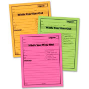 """Adams® Neon While You Were Out Message Pads, 4"""" x 5"""", Pink, Green, Orange, 6 Pads/Pack"""
