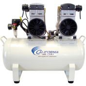 California Air Tools Duplex Ultra Quiet & Oil Free Air Compressor CAT-1740, (2) 2 HP, 220V, 17 Gal