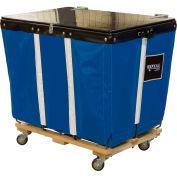 PVC Hinged Top Basket Truck, 6 Bu, Blue Vinyl, Wood Base, All Swivel