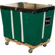 PVC Hinged Top Basket Truck, 6 Bu, Green Vinyl, Wood Base, All Swivel