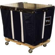 PVC Hinged Top Basket Truck, 6 Bu, Black Vinyl, Wood Base, All Swivel