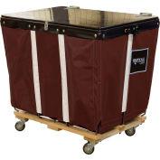 PVC Hinged Top Basket Truck, 6 Bu, Brown Vinyl, Wood Base, All Swivel