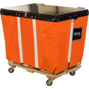 PVC Hinged Top Basket Truck, 6 Bu, Orange Vinyl, Wood Base, All Swivel