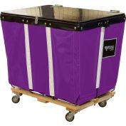 PVC Hinged Top Basket Truck, 6 Bu, Purple Vinyl, Wood Base, All Swivel