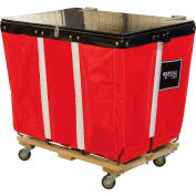 PVC Hinged Top Basket Truck, 6 Bu, Red Vinyl, Wood Base, All Swivel