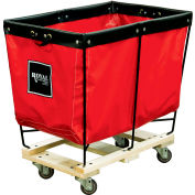 Elevated Basket Truck, 6 Bu, Red Vinyl, Wood Base, All Swivel