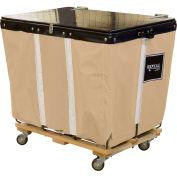 PVC Hinged Top Basket Truck, 6 Bu, Tan Vinyl, Wood Base, All Swivel