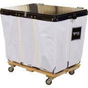 PVC Hinged Top Basket Truck, 6 Bu, White Vinyl, Wood Base, All Swivel