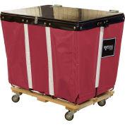PVC Hinged Top Basket Truck, 8 Bu, Maroon Vinyl, Wood Base, All Swivel