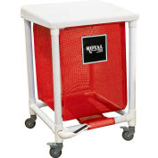 PVC Hamper, 24 Gal, Sgl, Red Mesh Liner, 2 Sw/2 Sw Lock, with Foot Pedal