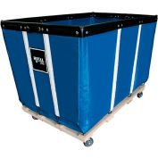 "24 BU-Heavy-Duty Basket Trucks By Royal - Vinyl Liner - 54""Lx34""Wx37.5""H 4 Swivel Casters-Blue"