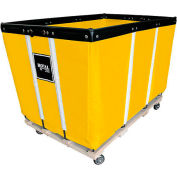 "24 BU-Heavy-Duty Basket Trucks By Royal - Vinyl Liner - 54""Lx34""Wx37.5""H 4 Swivel Casters-Yellow"