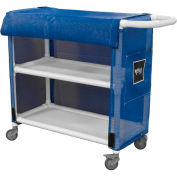 "PVC Linen Cart, 32"" - 2 Shelf, Blue Mesh Cover, 2 Sw/2 Sw Lock"