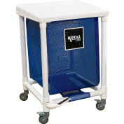 PVC Hamper, 35 Gal, Sgl, Blue Mesh Liner, 2 Sw/2 Sw Lock, with Foot Pedal