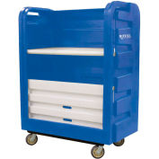 Royal Basket-Bulk Turnabout Truck, 48 Cu Ft, Blue, Plastic Shelves, 2 Rg/2 Sw - R48-BLX-TPC-6UNN