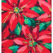 "Gift Wrap Paper, Festive Poinsettias, Ultra Gloss, 100'L X 24""W"