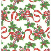"""Gift Wrap Paper, Red Ribbons & Canes, 100'L X 24""""W"""