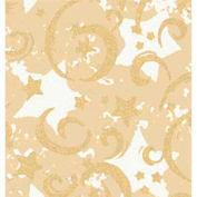 """Gift Wrap Paper, Gold Stars & Swirls/Kraft, 100'L X 24""""W"""