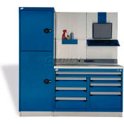 "Rousseau Metal GT Workcenter GT-C1042S_560, One Tool Box, 72""W, Glossy Sapphire Blue"