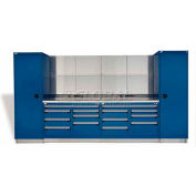 """Rousseau Metal GT Workcenter GT-C2033S_560, Two Tool Boxes, 144""""W, Glossy Sapphire Blue"""