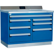 """Rousseau Metal Workbench w/ Multi Drawer Tool Box , 48""""W x 30""""D x 40""""H, Blue"""