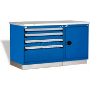 """Rousseau Metal Workbench For MED & SM Parts GT-XKG0004S_560, 2 Tool Boxes, 60""""W, Glossy Sapphire BL"""