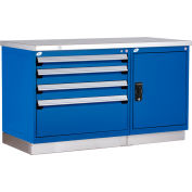 """Rousseau Metal Workbench for MED & SM Parts w/ 2 Tool Boxes, 60""""W x 30""""D x 36""""H, Gloss Black"""