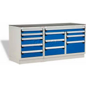 """Rousseau Metal Workbench W/12 Drawers, GT-XLG0002S_560, 2 Tool Boxes, 72""""W, Glossy Sapphire Blue"""