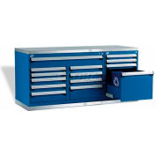 """Rousseau Metal Workbench For Waste & Recycling GT-XLG0004S_052, 2 Tool Boxes, 72""""W, Classic Blue"""
