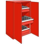 "3 Drawer Tool Storage Cabinet for HSK 63 - 36""Wx24""Dx60""H Red"