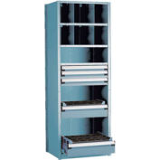 """Shelving with 5 Drawers for Taper 50 - 30""""Wx24""""Dx87""""H Everest Blue"""