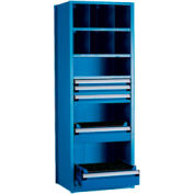 """Shelving with 5 Drawers for Taper 50 - 36""""Wx24""""Dx87""""H Avalanche Blue"""
