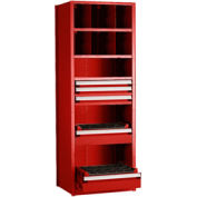 "Shelving with 5 Drawers for 50 KM - 30""Wx24""Dx87""H Red"