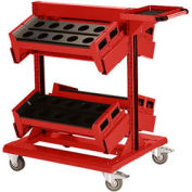 "36"" Centered Mobile Cart for HSK 63 - 32""Wx27""Dx41-1/4""H Red"