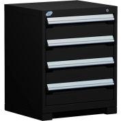 "Rousseau Metal Heavy Duty Modular Drawer Cabinet 4 Drawer Bench High 24""W - Black"