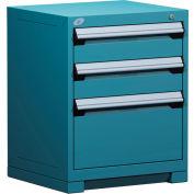 "Rousseau Metal Heavy Duty Modular Drawer Cabinet 3 Drawer Bench High 24""W - Everest Blue"