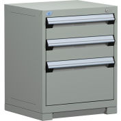 "Rousseau Metal Heavy Duty Modular Drawer Cabinet 3 Drawer Bench High 24""W - Light Gray"