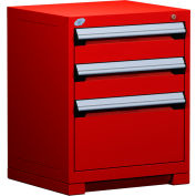 "Rousseau Metal Heavy Duty Modular Drawer Cabinet 3 Drawer Bench High 24""W - Red"