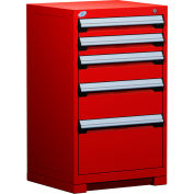 "Rousseau Metal Heavy Duty Modular Drawer Cabinet 5 Drawer Counter High 24""W - Red"