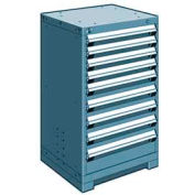 "Rousseau Metal Heavy Duty Modular Drawer Cabinet 9 Drawer Counter High 24""W - Everest Blue"