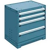 "Rousseau Metal Heavy Duty Modular Drawer Cabinet 4 Drawer Bench High 30""W - Everest Blue"