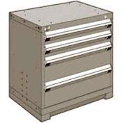 "Rousseau Metal Heavy Duty Modular Drawer Cabinet 4 Drawer Bench High 30""W - Light Gray"