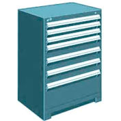 """Rousseau Metal Heavy Duty Modular Drawer Cabinet 7 Drawer Counter High 30""""W - Everest Blue"""