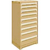 "Rousseau Metal Heavy Duty Modular Drawer Cabinet 9 Drawer Full Height 30""W - Beige"